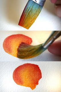Load one side of the brush with indian yellow, then carefully dip the opposite side of the brush into a small pool of crimson lake. With one quick circular swash of the brush, I have created a multicolor flower petal. The yellow and red blend together on the paper. This is an excellent technique for quick, fresh multicolored flower petals. Works great for leaves too. | The Rita's Art Blog: Tuesday's Tips and Techniques for Watercolor Painting