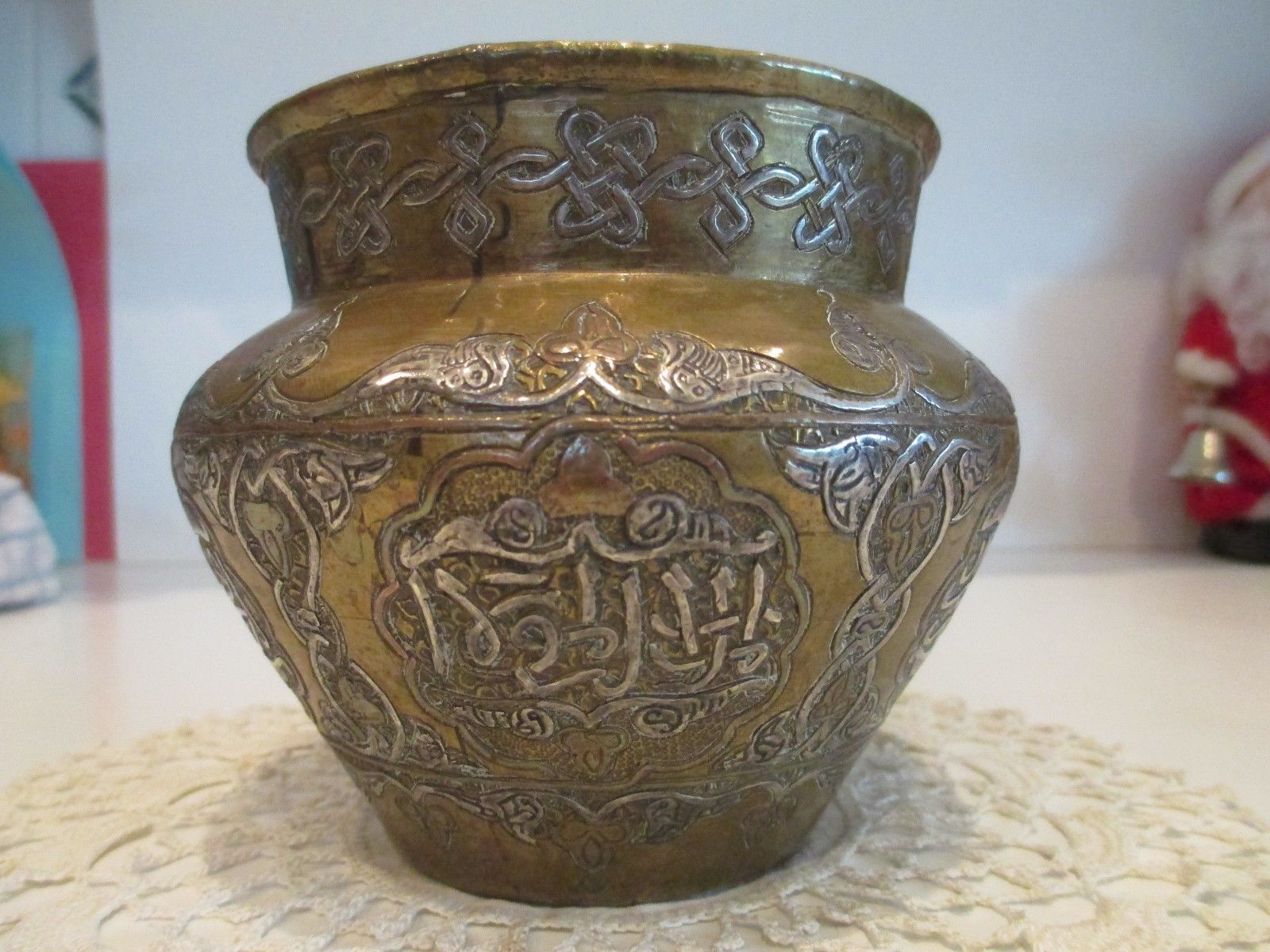 Antique islamic brass vase hand made silver copper ottomanqajar antique islamic brass vase hand made silver copper ottomanqajar style persian reviewsmspy