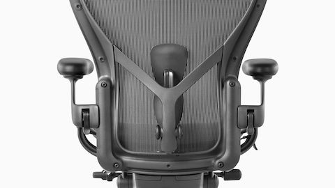 Rear view of a black Aeron office chair showing back support and adjustable arms.  sc 1 st  Pinterest & Rear view of a black Aeron office chair showing back support and ...