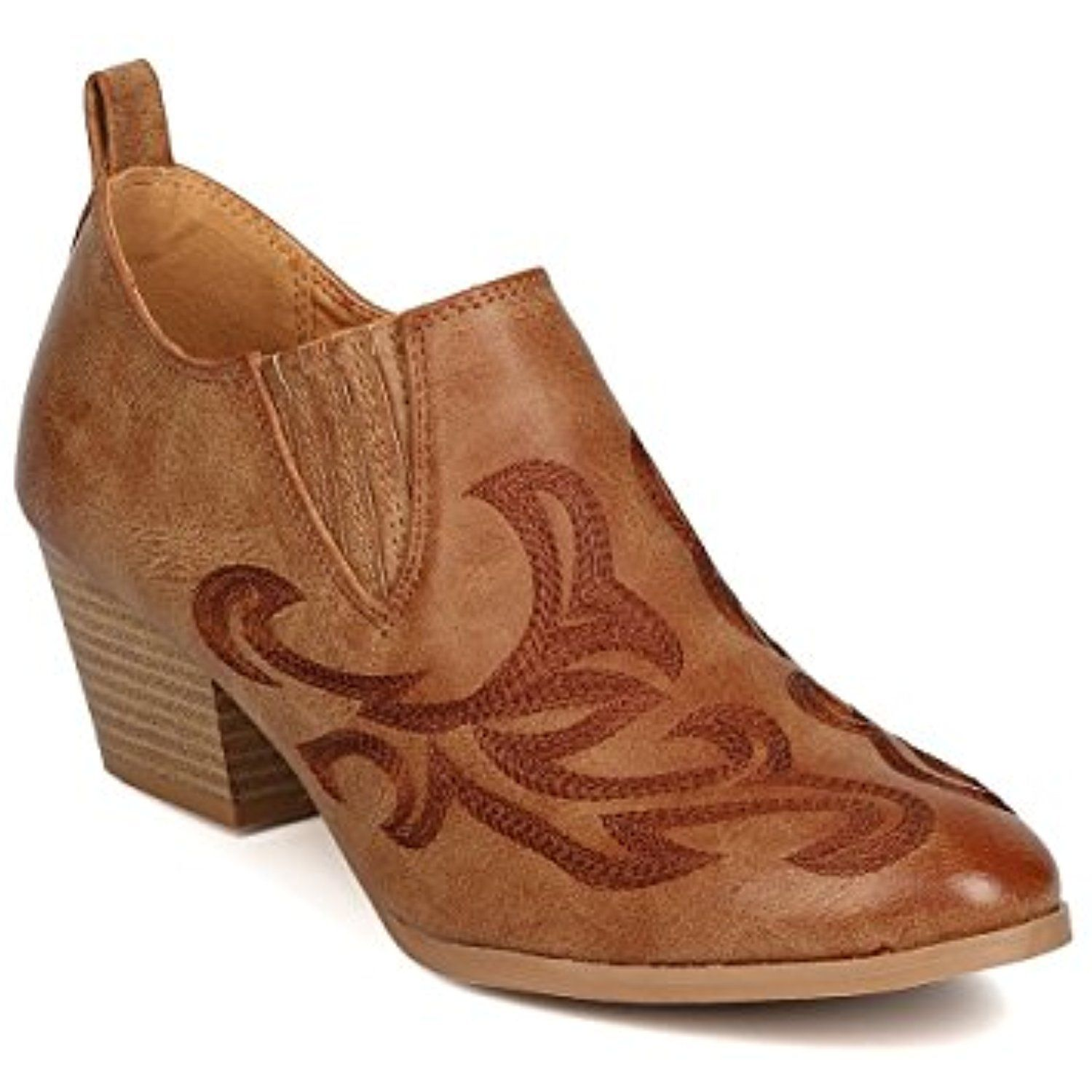 GA37 Women Leatherette Pointy Toe Embroidered Cowboy Bootie