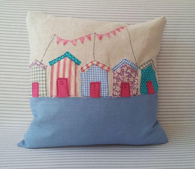 Beach Hut Machine Embroidery Design: Freehand Machine Embroidered Beach Hut Cushion