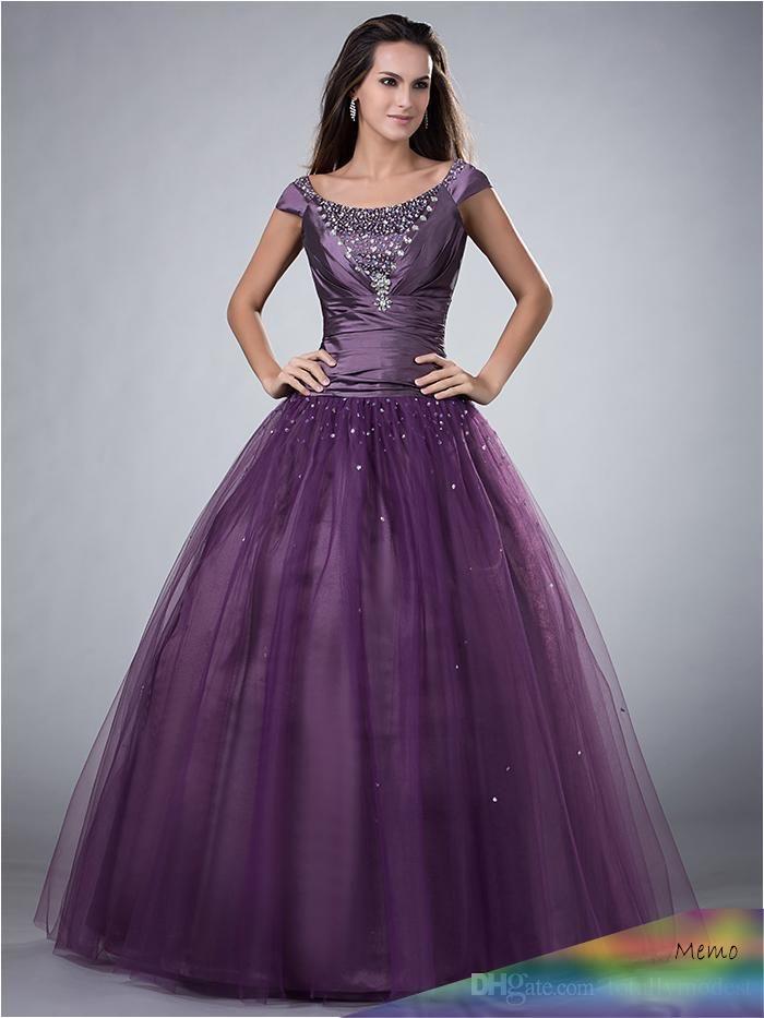 Jun 22, 2017 - 2016 Purple Ball Gown Long Modest Prom ...