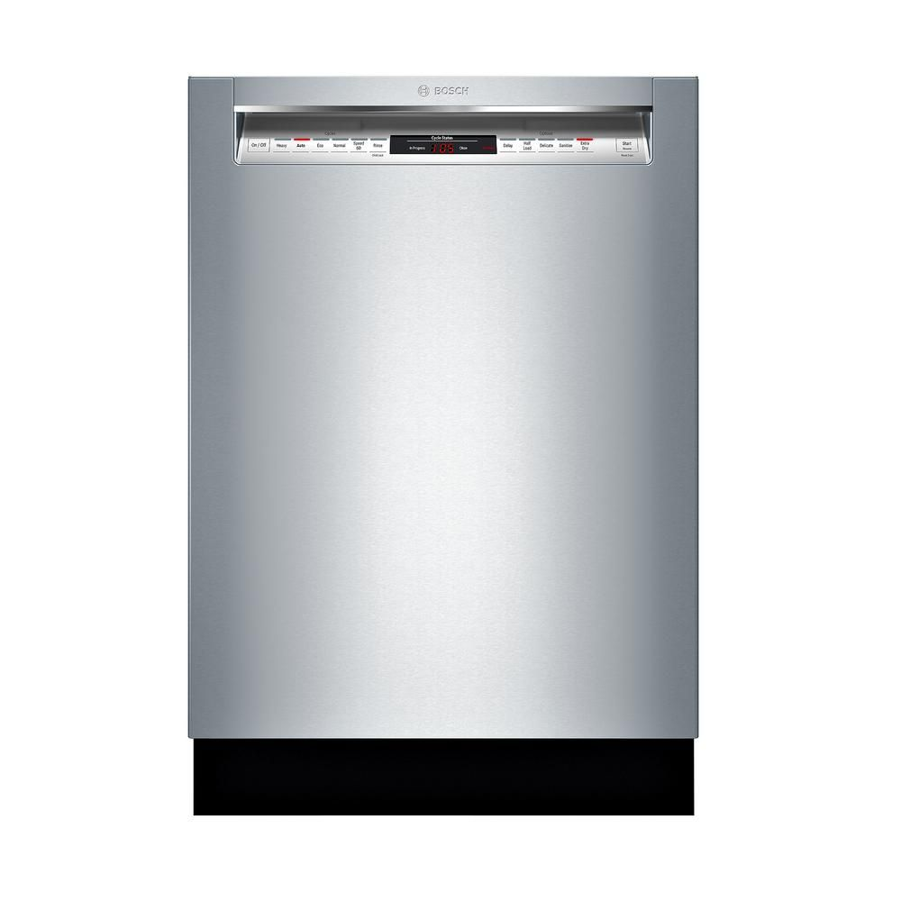 Bosch 800 Series 24 In Stainless Steel Front Control Recessed Handle Dishwasher With Stainless Steel Tub Crystaldry 42dba Shem78z55n The Home Depot Built In Dishwasher Steel Tub Quiet Dishwashers