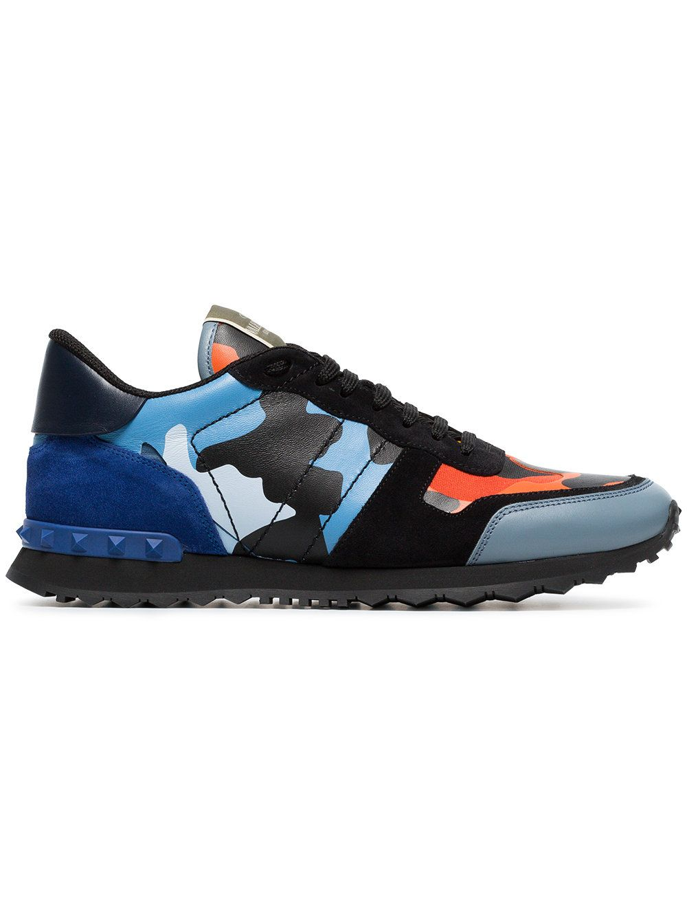 9c9f73a114285 Valentino Black, blue and orange camouflage rockrunner leather sneakers