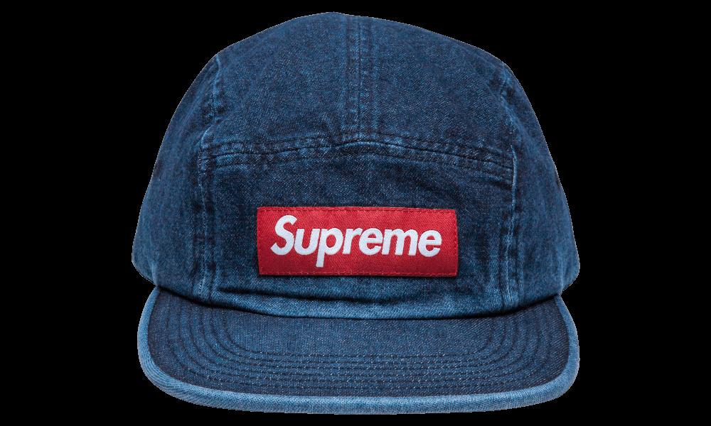 2018 S//S Supreme Washed Chino Twill Camp Cap Dark Denim