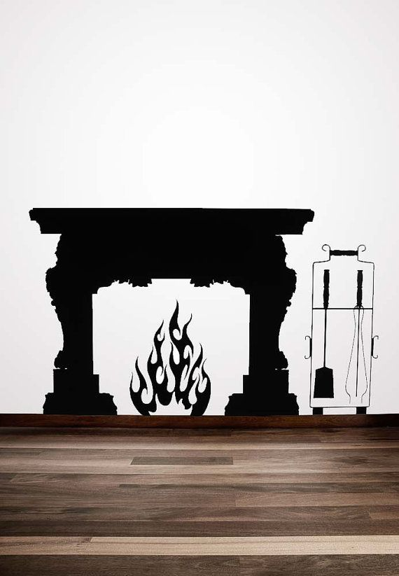 Fireplace Mantel, Vinyl Decal, Fireplace Mantle, Fireplace Mantel Decor  Flames, Mid Century Fireplace, Sticker, Wall Art, Home Decor, Winter
