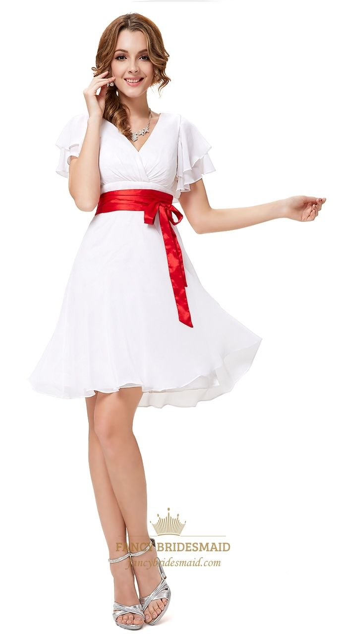 White Cap Sleeve Cocktail Dress With Red Ribbon White Graduation Dresses With Sleeves Chiffon Dress Short Casual White Dress White Cocktail Dress [ 1280 x 694 Pixel ]