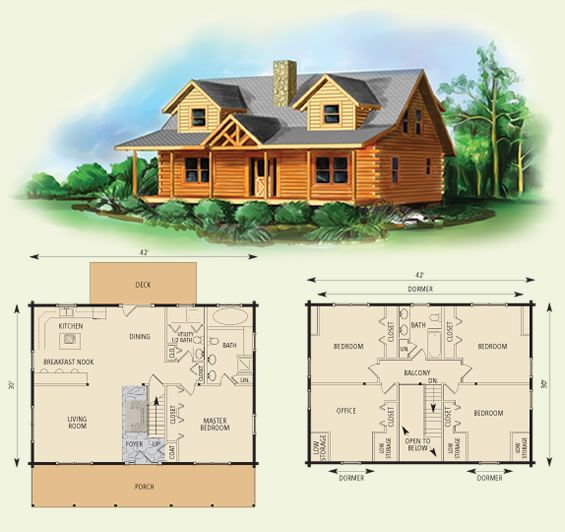 Northridge i log home and log cabin floor plan i would for Small cabin floor plans wrap around porch