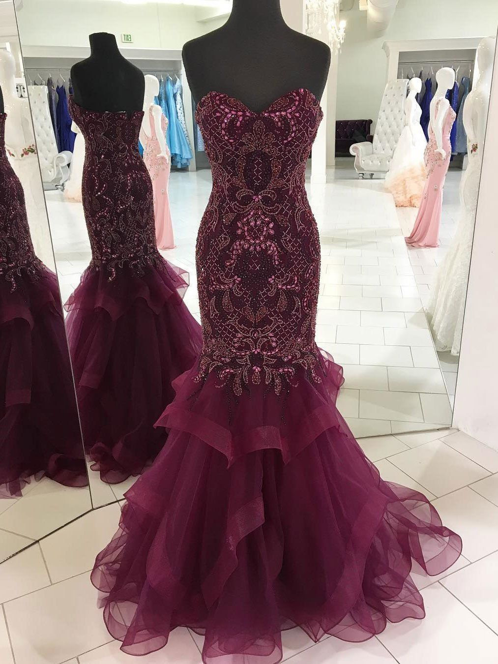 7c17d776179 Grape Tulle with Beaded Shine Mermaid Prom Dresses