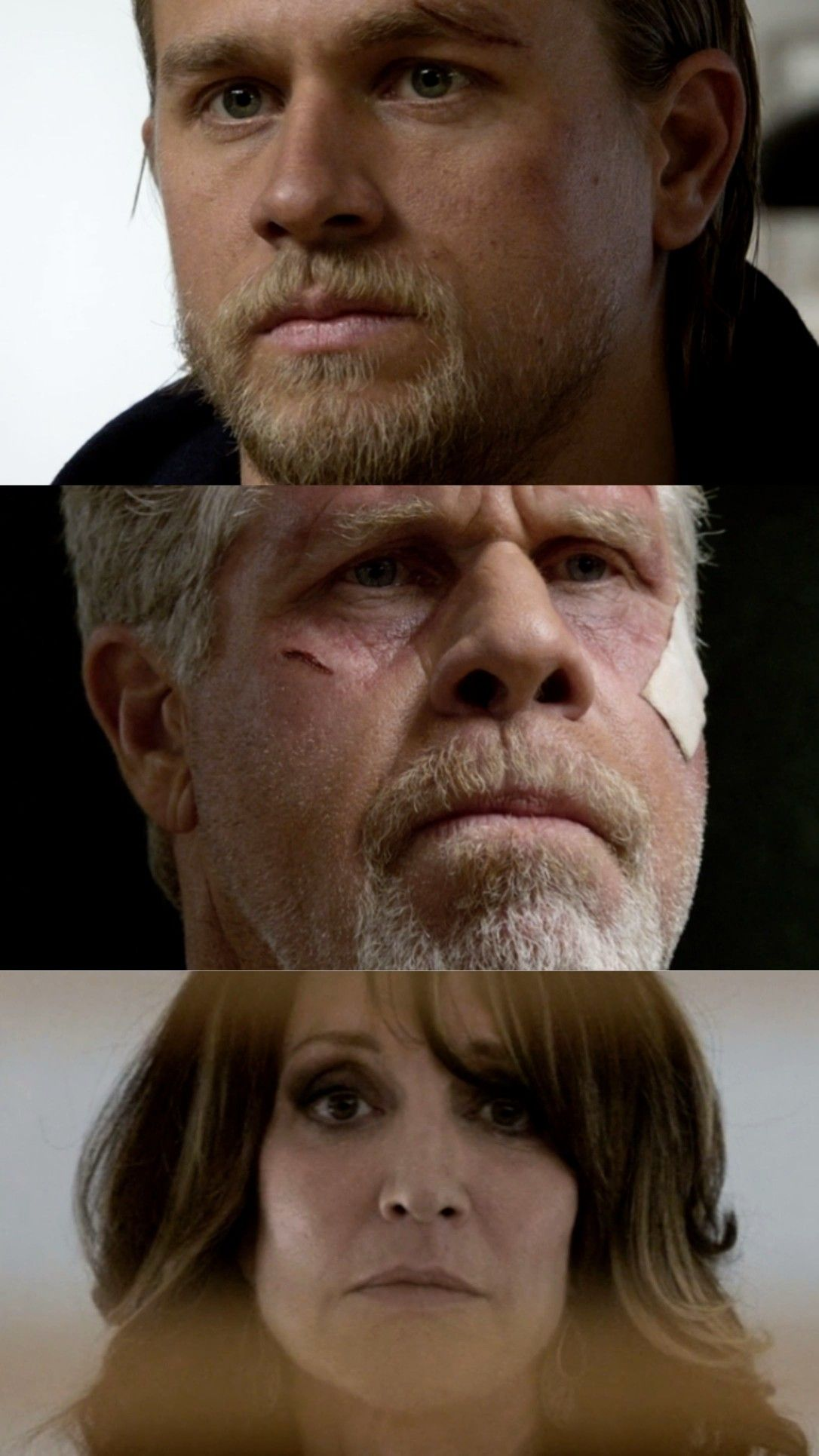 What A Scene Charlie Hunnam, Ron Perlman And Katey Sagal -8525