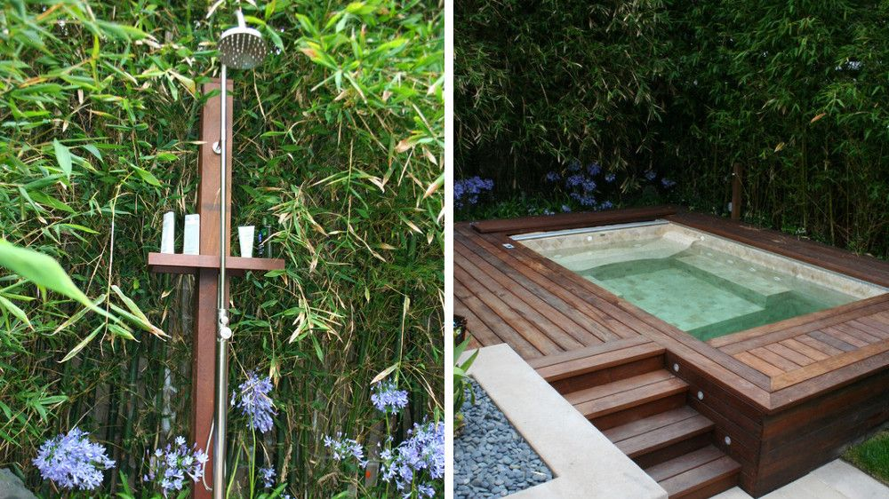 Une douche d ext rieur nature dans mon jardin douche - Colonne de douche exterieur ...