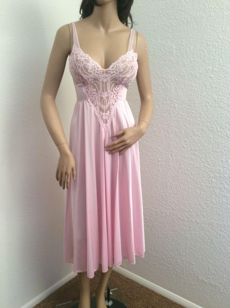 21b2c79f89 Vtg Pink Olga Nylon Stretch Lace Bodice Nightgown Size Small  Olga