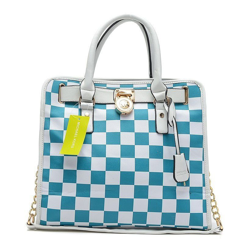 Michael Kors Outlet Hamilton Checkerboard Large Blue Totes -Michael Kors  factory outlet online sale now up to off!