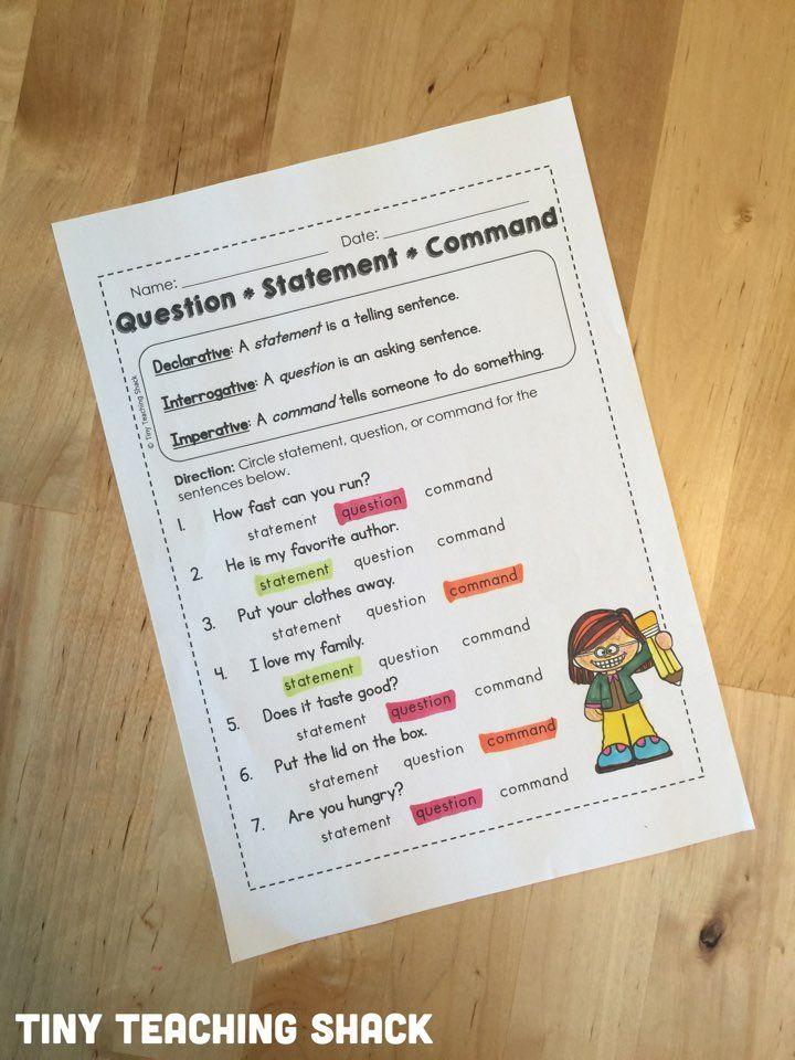 Sentence Type Sort Reading Writing Grammar Pinterest