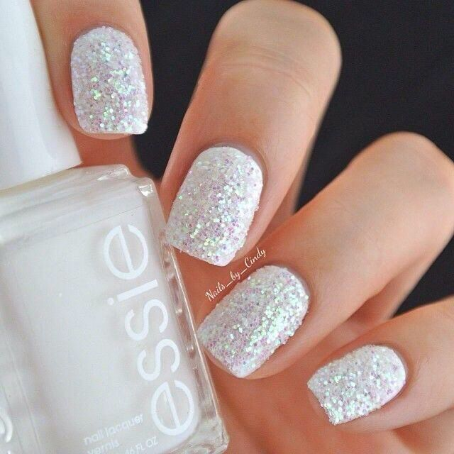 White Sparkle Nails Perfect For A Winter Wedding I Might Add A