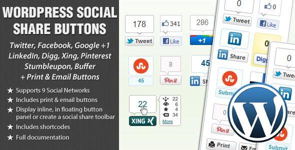 WordPress Social Share Buttons   ad templates   Social share