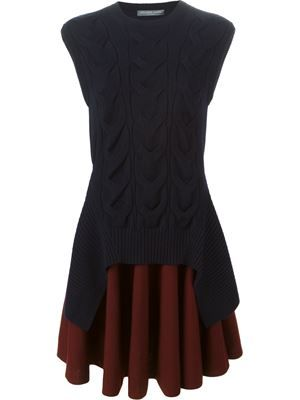 layered cable knit dress