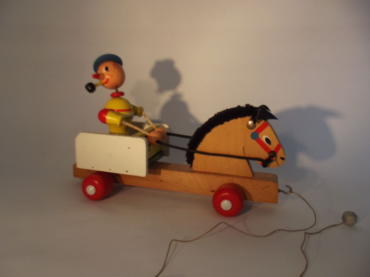 vintage wooden pull along toy horse and wagon ideen. Black Bedroom Furniture Sets. Home Design Ideas