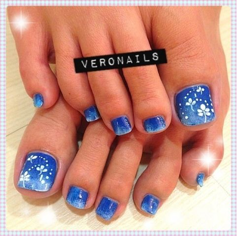 Veronails Blue N White Gradation Juz Nails Flower Toe Nails