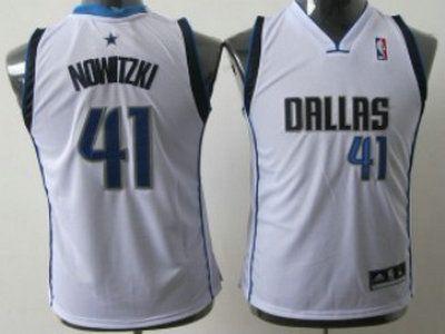 Dallas Mavericks 41 Dirk Nowitzki White Authentic Kids Jersey  63d4935d5
