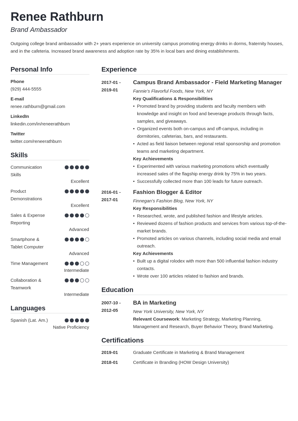 brand ambassador resume example template simple in 2020