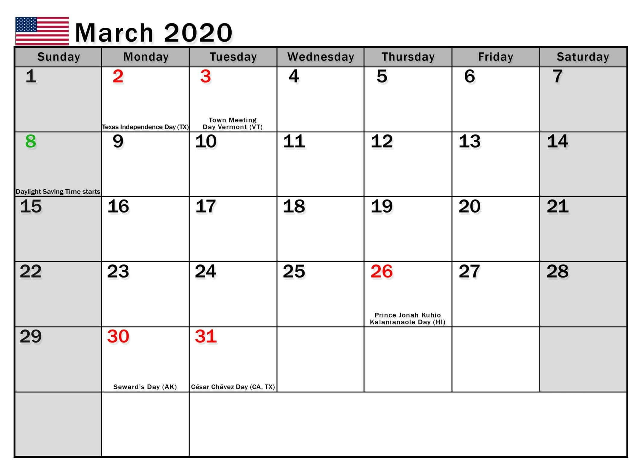 March 2020 Calendar Usa Holidays Federal National Bank In 2020
