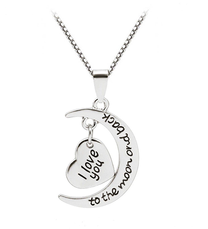 Love Heart Shaped Moon Pendant Necklace For Women Girls