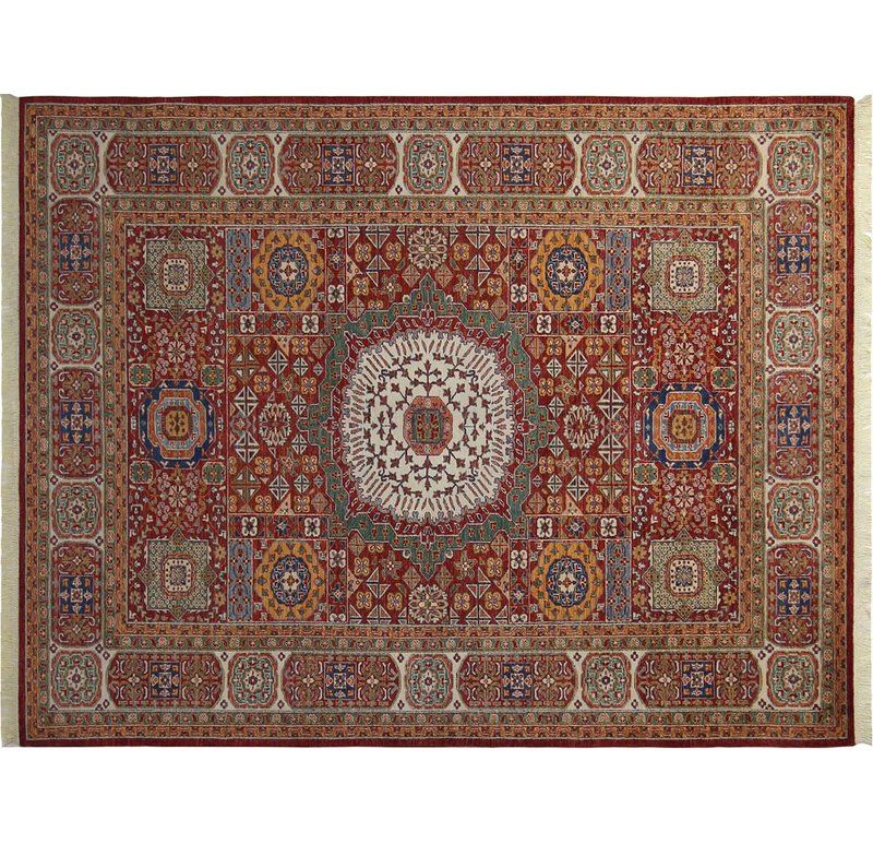 White Brick Baldwin Park S Design: Baldwin Park Hand-Knotted Wool Red Area Rug