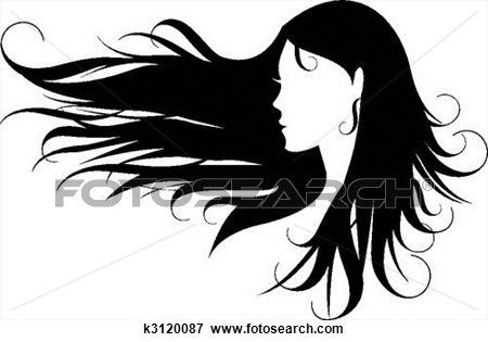 Clip Art Of Black Hair K3120087 Search Clipart Illustration Posters Drawings And Eps Vector Graphics Girl With Headphones Wind Blown Hair Girl Silhouette
