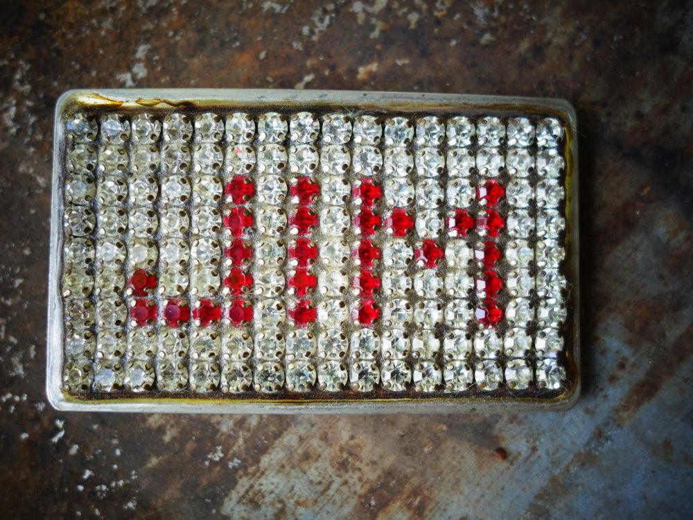 Rare Vintage Rhinestone Belt Buckle By Norsell. Personalized name JIM. $45