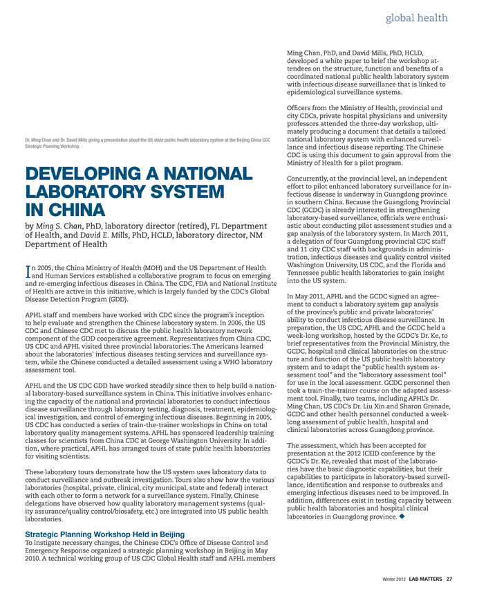 Developing A National Laboratory System In China From Aphl S Magazine Lab Matters National Laboratory National Development
