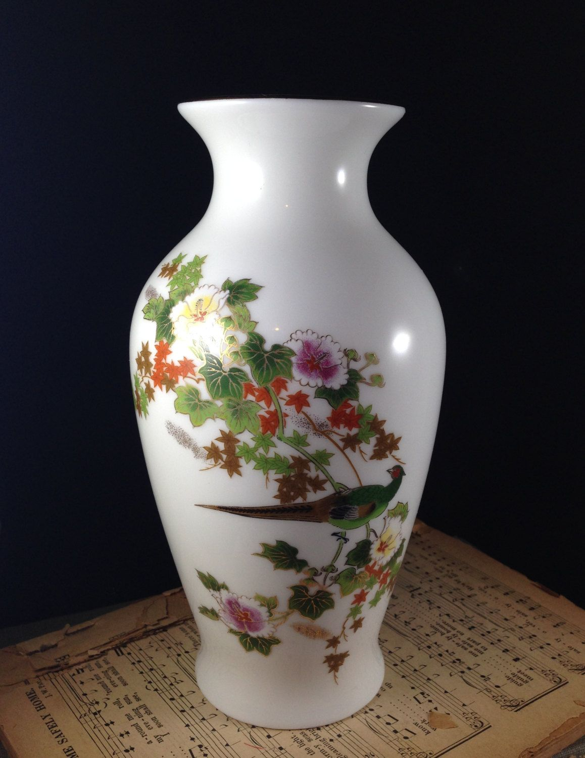 Vintage oriental vase with pheasant and flowers 24k gold trim made vintage oriental vase with pheasant and flowers 24k gold trim made in japan asian ceramic flower reviewsmspy