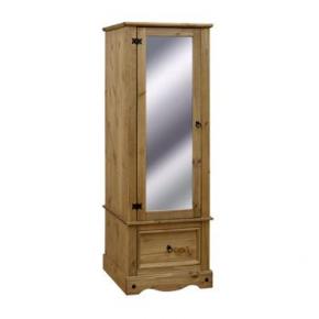 163 199 Corona Mexican Pine 1 Door Armoire With Mirrored Door