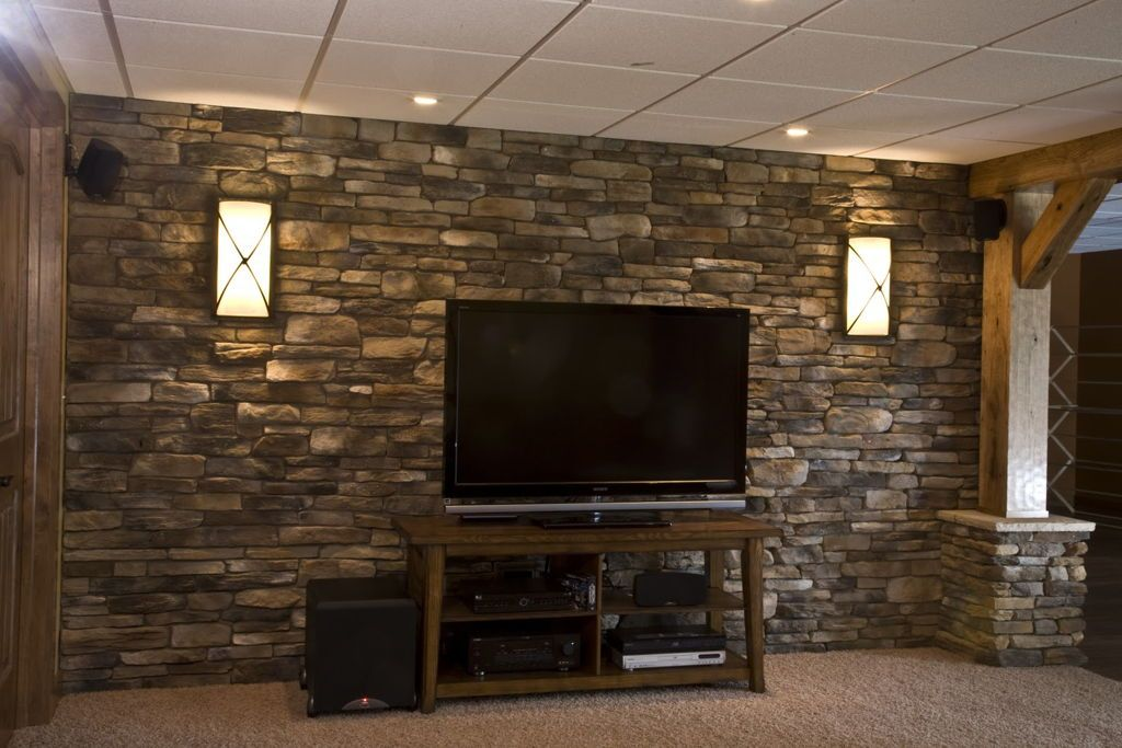 Decorations Striking Exposed Brown Stone Wall For Basement