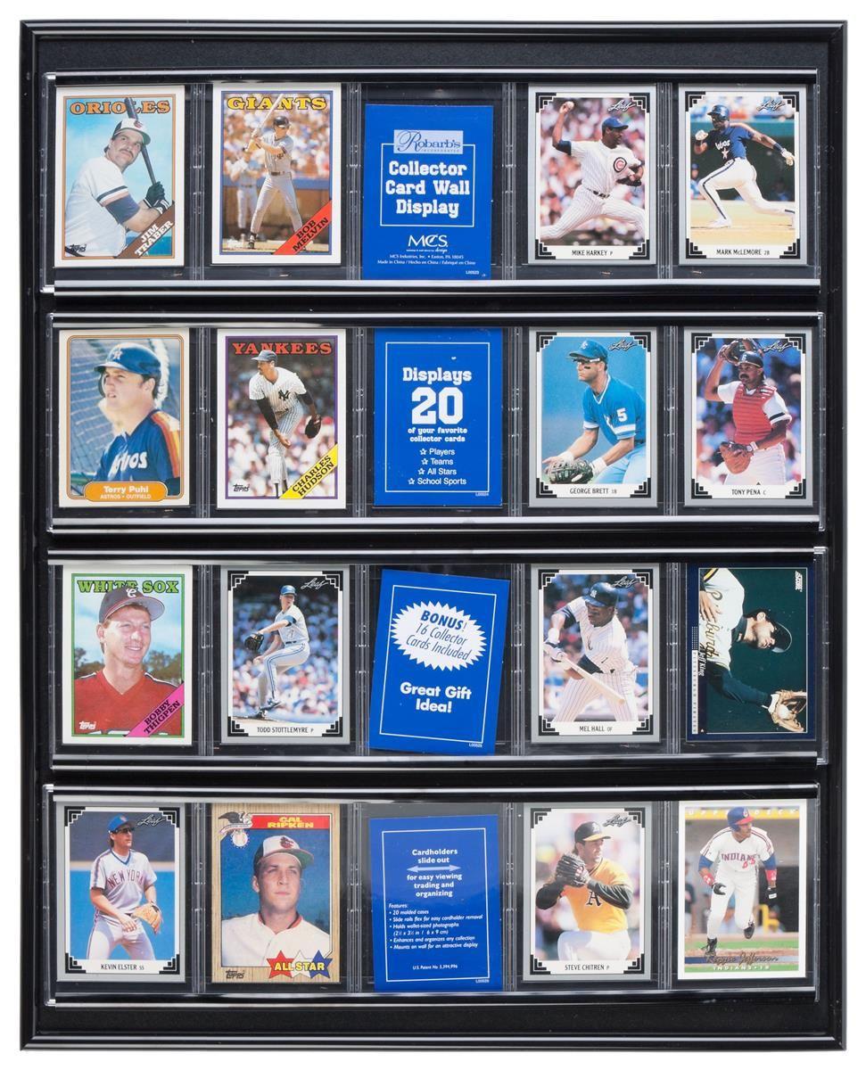 Sports Display Case W 20 Plastic Slide In Sleeves For Baseball