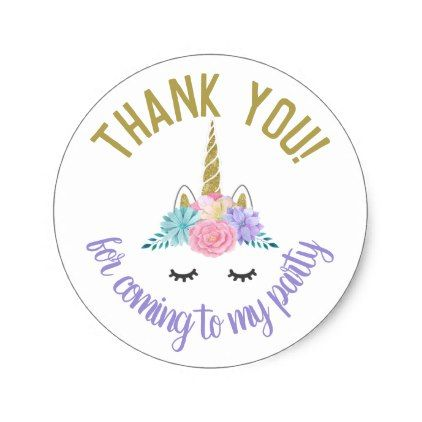 Unicorn face birthday stickers round labels unicorn face