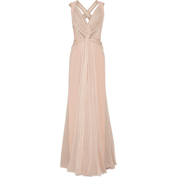 J Mendel Silk-crepe and pleated silk-chiffon gown ($8,570) via Polyvore