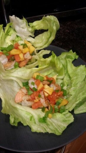 Shrimp lettuce wraps, with seared Nectarines,  Roma tomorrow and green onions.
