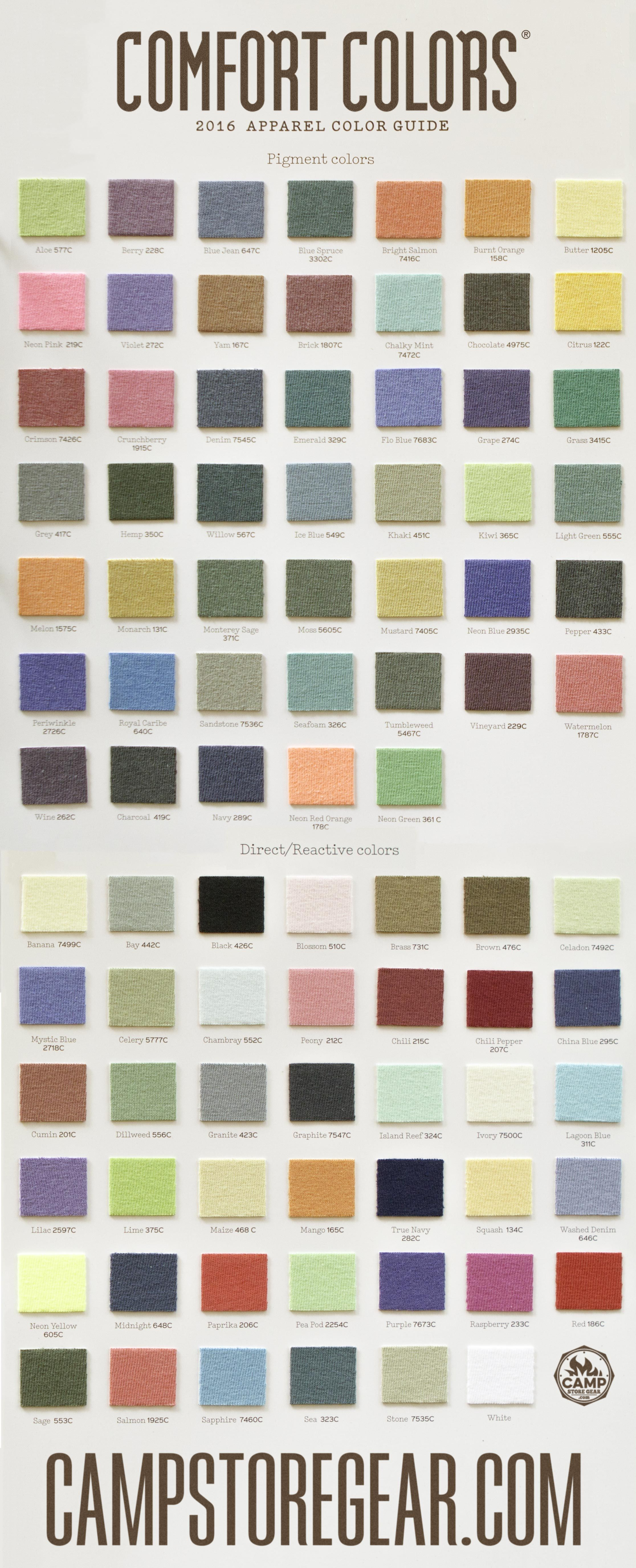 Comfort Colors 2016 Arel Color Guide All Swatches