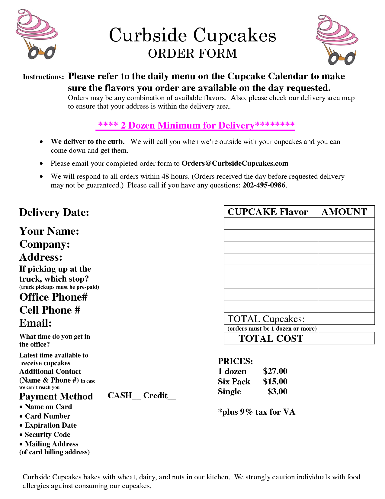 Order Form  AprilS Sweet Shoppe    Order Form And Cake