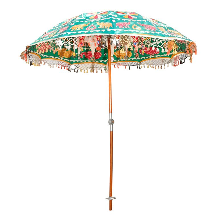 Multi Colored Indian Umbrella With Mirrors And Animals Parasol