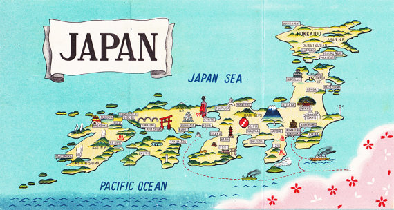 Vintage Map of Japan from the 1950's. This is a good source ... on map of india 1950, map of france 1950, map of kenya 1950, map of south korea 1950, map of africa 1950, map of europe 1950, map of vietnam 1950, map of portugal 1950, map of world 1950, map of greece 1950,