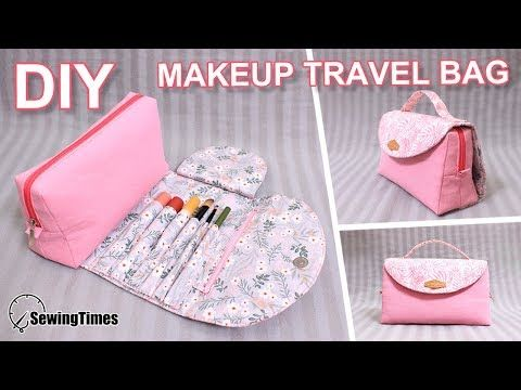 DIY MAKEUP TRAVEL BAG 파우치만들기 | Brush Roll Case | All In One Cosmetic Bag [sewingtimes]