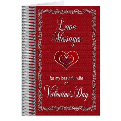 ValentineS Day Love Messages For Wife  Notebook Card  Holiday