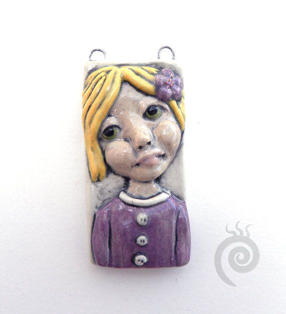 Ceramic Art Tile Pendant Doll Focal Bead Jada by BluMudd on Etsy, $25.00