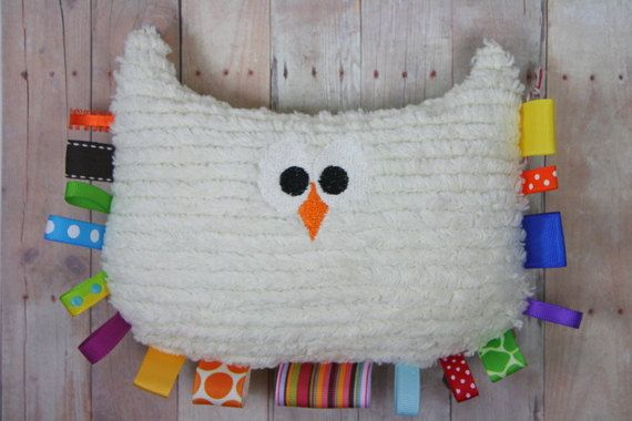 Teether Tag Toy Large Plush Owl Baby Toy Nursery Decor by JuteBaby, $25.00