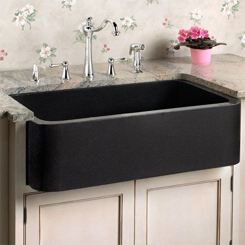 Polished Granite Single Bowl Farmhouse Sink With Recessed Front