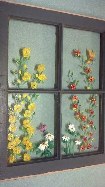 Flowers I Painted On Old Window A Few Butterflies Painting On Glass Windows Painted Window Art Painted Window Panes