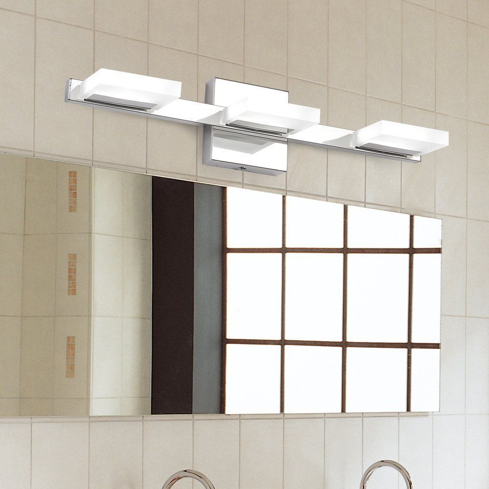 Bathroom Vanity 3 Light LED Fixture Chrome Cage Wall Lighting Over ...