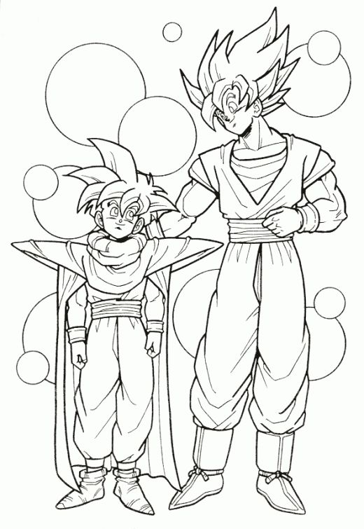 Dragon Ball Z Goku and Gohan super saiyan coloring page | Japanese ...